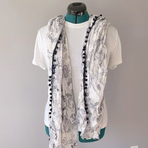 """35"""" x 65"""" navy blue and white wrap/scarf with poms"""